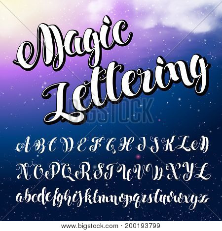 English alphabet. Modern Brushed Lettering. White letters on Blue shine black background. ABC Painted Letters Alphabet. Education. Vector handwritten brush script