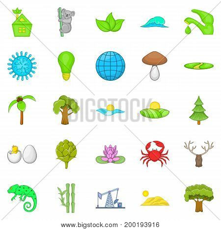 Natural strength icons set. Cartoon set of 25 natural strength vector icons for web isolated on white background