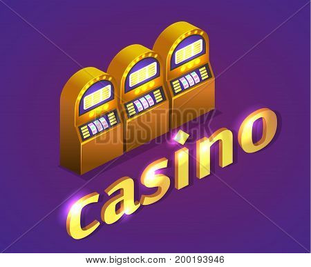 Isometric Flat 3D Isolated Vector Casino. Gold Coins