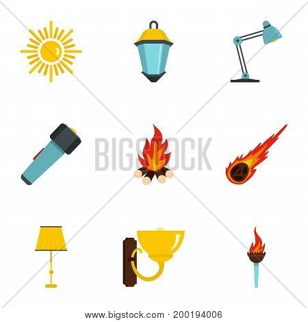 Sources of light icon set. Flat style set of 9 sources of light vector icons for web isolated on white background