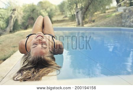 Blonde girl relaxing on vacation