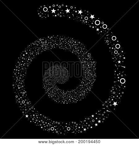Confetti Stars hypnotic vortex spiral. Vector white scattered objects.