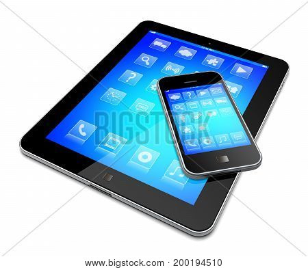 Tablet pc computer and mobile smartphone gadget with a blue background and apps on a device screen. Isolated on a white. 3d image