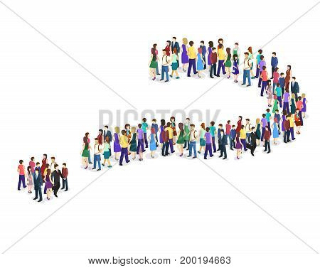 Crowd Of People In The Form Of A Question Mark
