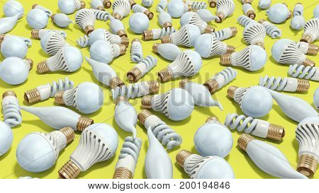 Different Lighting Bulbs Set 3D Render On Yellow Background