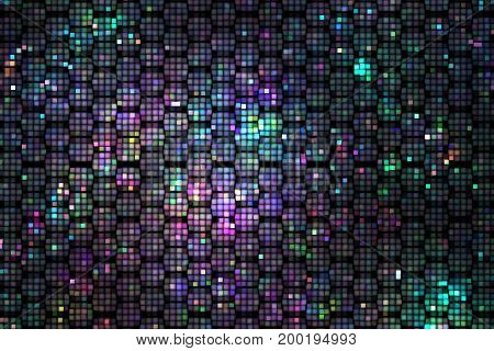 Abstract Geometric Texture With Green, Blue And Pink Sparkles On Black Background. Fantasy Fractal D