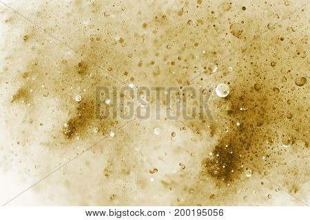 Abstract Colorful Blurred Golden Drops And Sparkles On White Background. Fantasy Fractal Texture. Di