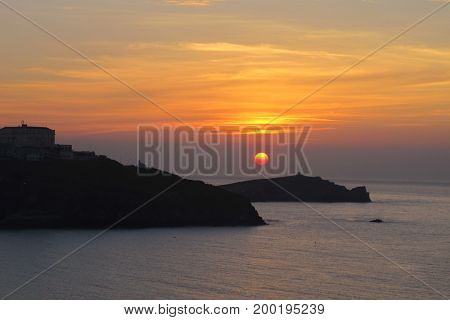 Sunset View from Newquay, Cornish Coast, England
