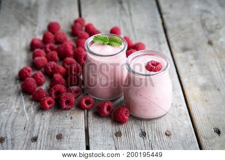 Yogurt Smoothie With Raspberries, Fruit Dessert. Berry Smoothie. Healthy Dieting Concept
