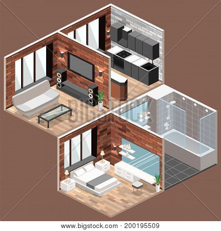 Isometric Loft Apartments With Kitchen, Bathroom, Living Room And Bedroom