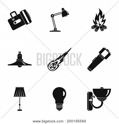 Light symbols icon set. Simple style set of 9 light symbols vector icons for web isolated on white background