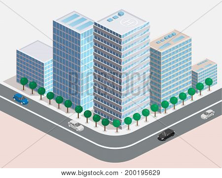 Isometric Flat 3D Isolated Vector City Three-dimensional Summer Town Quarter.