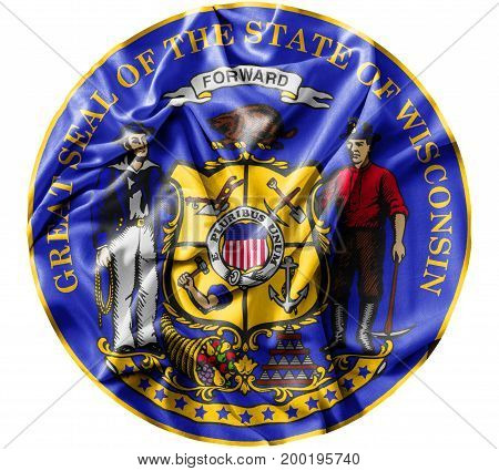 Ruffled waving United States Wisconsin Seal flag