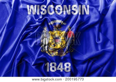 Ruffled waving United States Wisconsin flag national
