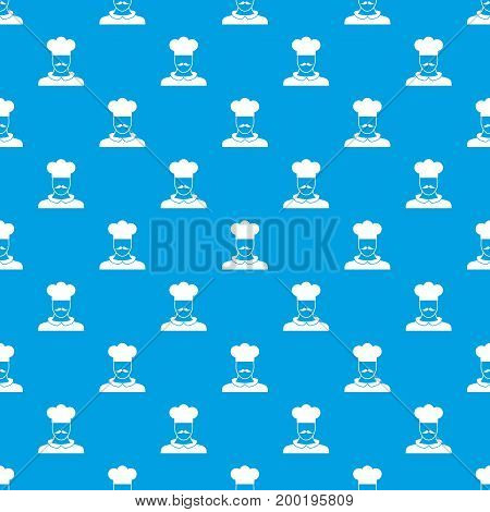 Male chef cook pattern repeat seamless in blue color for any design. Vector geometric illustration