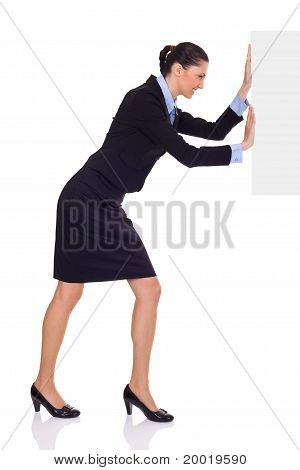 Businesswoman Pushing  Blank Paper
