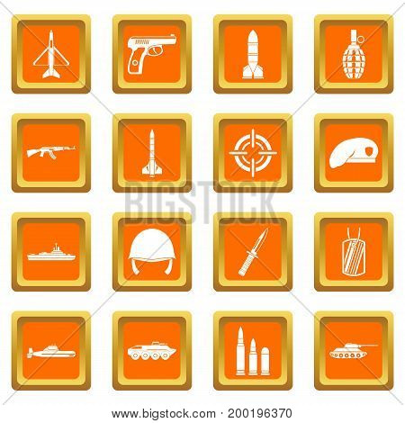 Military icons set in orange color isolated vector illustration for web and any design