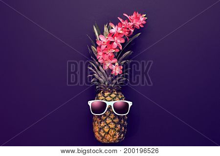 Pineapple Fruit Fashion Hipster. Beach Art Gallery Design. Minimal Style.. Summer party Mood, Night club.