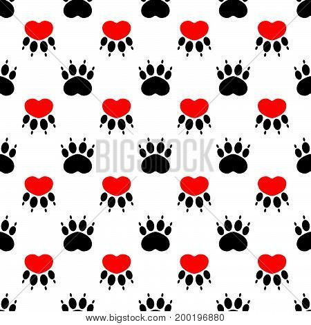 Cartoon dog paw prints - seamless pattern. Red heart on a white background. Vector illustration.