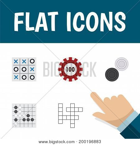 Flat Icon Play Set Of Gomoku, Chequer, Guess And Other Vector Objects