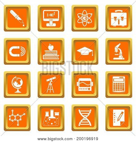 Education icons set in orange color isolated vector illustration for web and any design