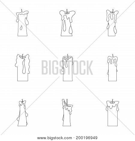 Decorative candle icon set. Outline style set of 9 decorative candle vector icons for web isolated on white background