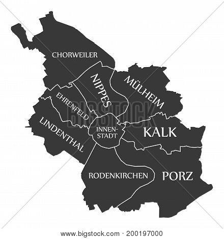 Cologne City Map Germany De Labelled Black Illustration