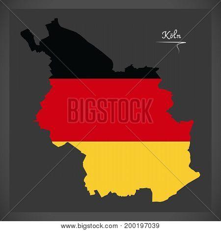 Cologne Map With German National Flag Illustration