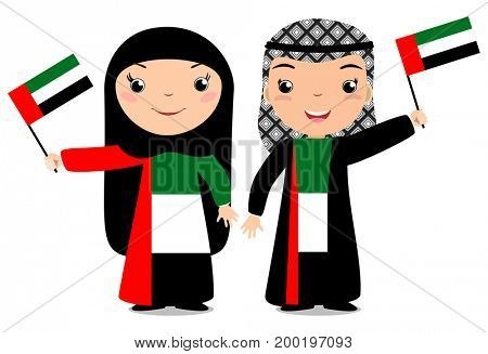 Smiling chilldren, boy and girl, holding a UAE flag isolated on white background. Cartoon mascot. Holiday illustration to the Day of the country, Independence Day, Flag Day.
