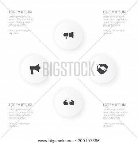 Icon Job Set Of Friendship, Speaker, Loudspeaker And Other Vector Objects