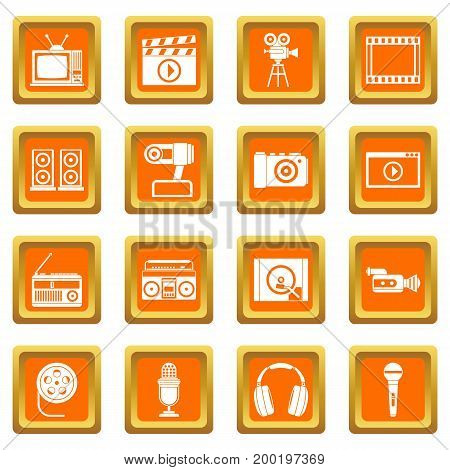 Audio and video icons set in orange color isolated vector illustration for web and any design