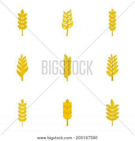 Grains icon set. Flat style set of 9 grains vector icons for web isolated on white background