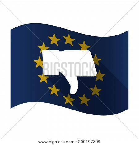 Isolated Eu Flag With A Thumb Down Hand