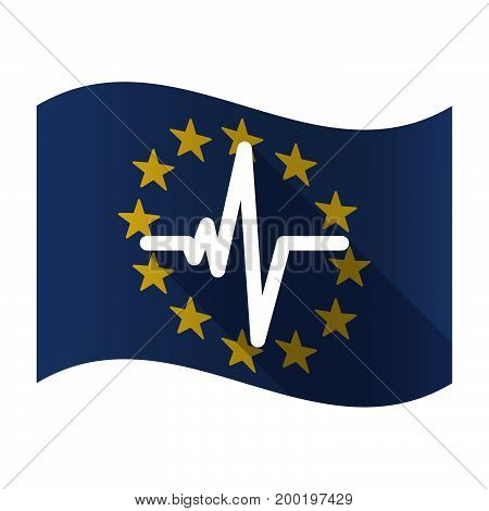 Isolated Eu Flag With A Heart Beat Sign