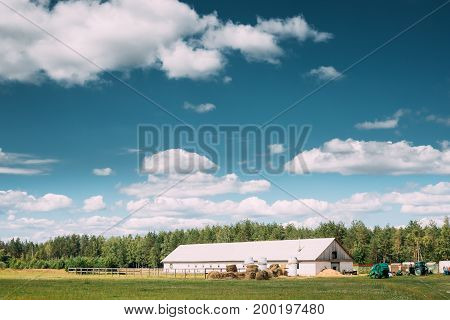 Countryside Rural Landscape With Paddock For Horse, Shed Or Barn Or Stable With Haystacks In Lat Summer Season. Agricultural Rural Landscape At Sunny Day. Farm