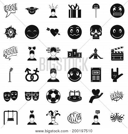Bad emotion icons set. Simple style of 36 bad emotion vector icons for web isolated on white background