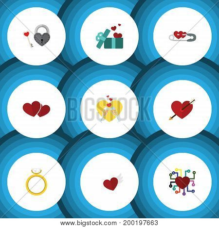 Flat Icon Amour Set Of Celebration, Soul, Gift And Other Vector Objects