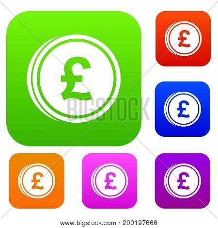 Coins of pound set icon in different colors isolated vector illustration. Premium collection