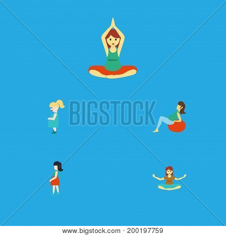 Flat Icon Pregnancy Set Of Yoga, Meditation, Mother And Other Vector Objects