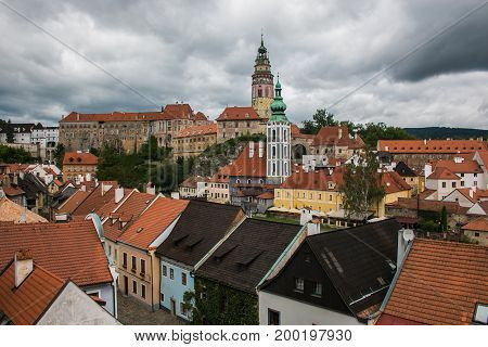 CESKY KRUMLOV, CEZCH REPUBLIC - AUGUST 13, 2017: Panoramic aerial view over the old Town of Cesky Krumlov