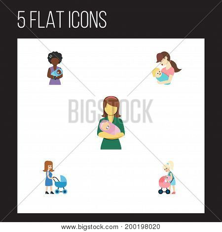 Flat Icon Mother Set Of Perambulator, Mother, Woman And Other Vector Objects