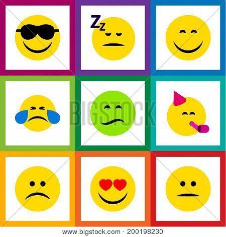 Flat Icon Emoji Set Of Love, Frown, Smile And Other Vector Objects