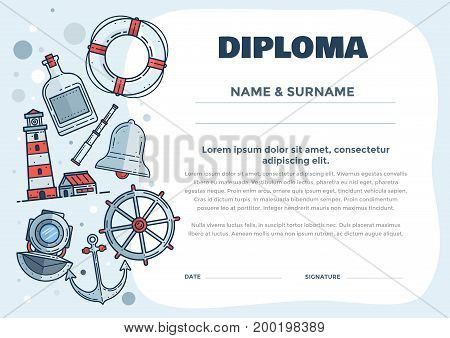 Children's diploma for pre-school or elementary school with nautical subjects Training seamanship in summer camp. Vector illustration. Vector illustration.