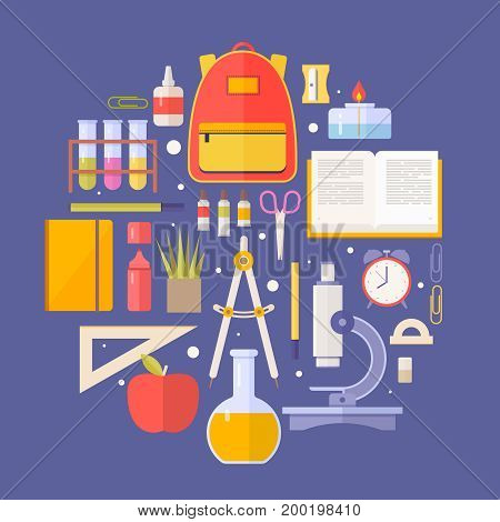 Set school items, supplies: schoolbook, microscope, notebook, backpack, scissors isolated on blue background. Concept education. Back to school. Vector illustration.