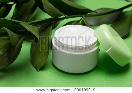 Open jar of moisturizing cream and green leaves. Vegan cosmetics with components of plant origin