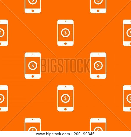 Smartphone with dollar sign on display pattern repeat seamless in orange color for any design. Vector geometric illustration