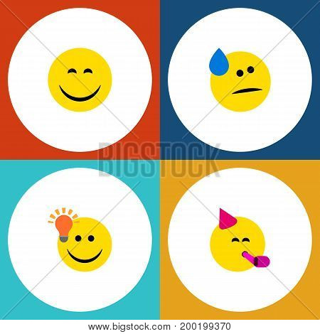 Flat Icon Emoji Set Of Tears, Have An Good Opinion, Smile And Other Vector Objects