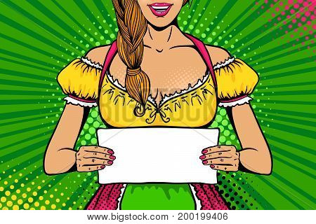 Oktoberfest girl. Young sexy woman with open smile in traditional Bavarian dress holding blank board for your text. Vector bright illustration in retro comic pop art style. Party invitation poster.