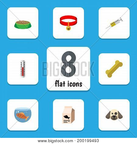 Flat Icon Animal Set Of Vaccine, Rabbit Meal, Osseous And Other Vector Objects