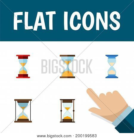 Flat Icon Sandglass Set Of Instrument, Measurement, Waiting And Other Vector Objects